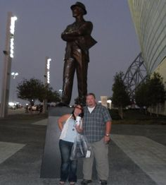 With Mr Landry's statue and my Ginger outside the new stadium