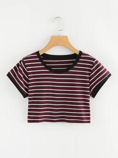 559b32f3a09e5 Striped Ringer Crop TeeFor Women-romwe Crop Tops For Kids