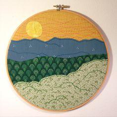 SALE Mountain Sunset Embroidery Art 10 hoop art