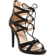 Elegant Footwear Aries Lace-Up Caged Sandal ($45) ❤ liked on Polyvore featuring shoes, sandals, black, laced sandals, black lace up shoes, black high heel sandals, open toe high heel sandals and black open toe shoes