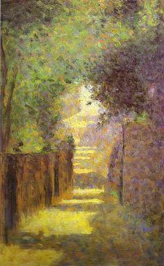 Saint Vincent Street Montmartre Spring 1884 Painting by Georges Seurat. Georges Seurat, Pierre Auguste Renoir, Manet, Famous Artists, Painting Techniques, Love Art, Oeuvre D'art, Landscape Paintings, Seurat Paintings