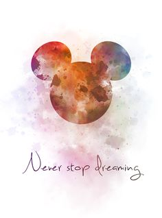 Never Stop Dreaming Quote Art Print Mickey Mouse, Nursery, Gift, Wall Art, Home . mickey mouse wallpaper - From my HoMe Mickey Mouse Wallpaper Iphone, Cute Disney Wallpaper, Wallpaper Iphone Cute, Aesthetic Iphone Wallpaper, Iphone Backgrounds, Wall Wallpaper, Trendy Wallpaper, Phone Wallpapers, Mickey Mouse Kunst
