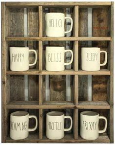 Reclaimed Wood Custom Coffee Mug Cubby System Starbucks Tassen, Starbucks Mugs, Oversized Coffee Mugs, Large Coffee Mugs, Coffee Shop, Vintage Crates, Vintage Bottles, Coffee Mug Storage, Mug Holder
