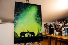 Elephants family in love Glow in the dark 70x50cm by CriscoArt