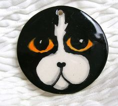 Cat With Gold Eyes Earthenware Clay Pendant by GoodNiteGracie