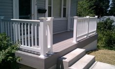 My Finished Front Porch Steps And Railings - Addicted 2 Decorating®My Finished Front Porch Steps And Railings - Addicted 2 Decorating®Backyard Deck Ideas - 10 Simple Updates to Try! Front Porch Deck, Small Front Porches, Front Porch Design, Decks And Porches, Deck Design, Roof Design, Front Porch Without Roof, Front Porch Remodel, Door Decks