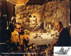 Cinematographer Ted Moore with Ray Harryhausen in front of a miniature set during the filming of 'The Golden Voyage of Sinbad'.