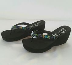 SAM & LIBBY Women's Wedge Toe Thong Sandal Flip Flop Shoes Black Size 9 NWT  #SamLibby #FlipFlops #Party