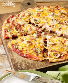 Bacon-Mushroom Pizzeria Pizza #recipe