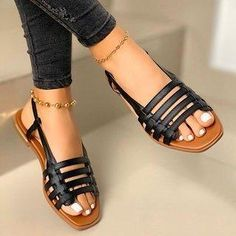 Leather Sandals Flat, Ankle Strap Sandals, Strap Heels, Black Sandals, Leather Heels, Women's Sandals, Gladiator Sandals, Trendy Sandals, Cheap Womens Sandals