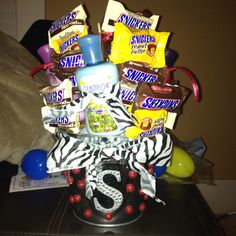Homemade birthday present with snickers hand lotion and crown royal shots