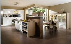 Circular Pendant Lighting With White Kitchen Cabinet Grey Dining Chairs Glass Doors Cabinet And Brown Ceramic Flooring