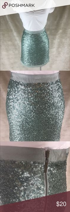 Tiffany blue sequin skirt Great party mini, not missing any sequins, fully lined. Brand is love21 Anthropologie Skirts Mini