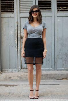 DIY Mesh Pencil Skirt - like the effect, but make it longer! :p