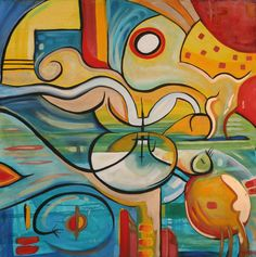 "The Art Gallery - Artist: Michael Angelides. ""Courtship of the Seahorses"" Online Gallery, Art Gallery, Gemini Lover, Paranoid Android, Life Aquatic, Cubism, Triptych, Aphrodite, Picasso"