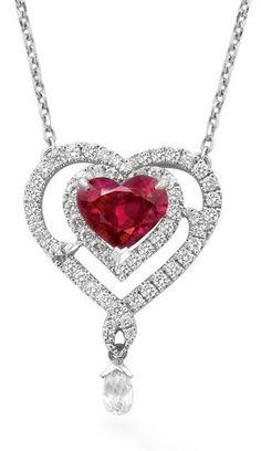 Boodles Ruby and diamond heart pendant