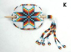 Check out our colorful selection of authentic Lakota hand beaded stick barrettes Native Beading Patterns, Seed Bead Patterns, Beaded Jewelry Patterns, Indian Beadwork, Native Beadwork, Native American Beadwork, Native American Hair, Native American Crafts, Nativity Crafts