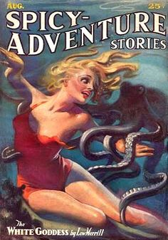 Dame and Octopus Pulp Cover by HJ Ward. Pulp Magazine, Magazine Art, Magazine Covers, Arte Pulp Fiction, Le Kraken, Science Fiction, Motif Art Deco, Adventure Magazine, Pin Up