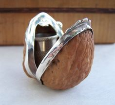 Antique Thimble Case Real Walnut adorned with Sterling Silver