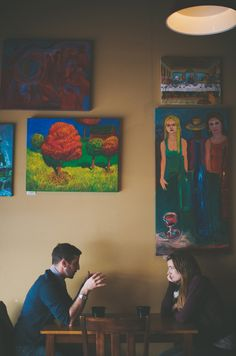 Falling in love at a coffee shop... An adorable engagement session by DuRall Photography