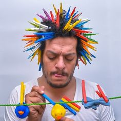 Egyptian conceptual photographer Ahmad El-Abi takes the challenge to his head by stuffing his hair full of random objects. Crazy Hair Day Boy, Crazy Hair For Kids, Crazy Hair Day At School, Crazy Hat Day, Whoville Hair, Wacky Hair Days, Poofy Hair, Hair Humor, Moustache