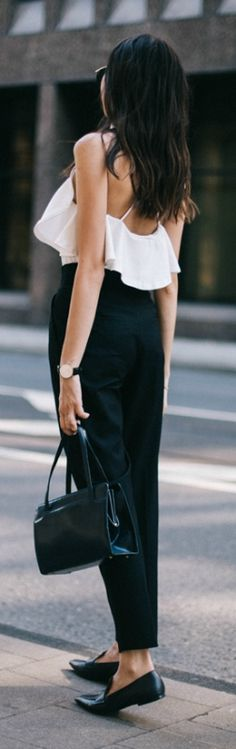 White open backed shirts look great with high waisted black trousers. Via Beatrice Gutu   Top: Misguided, Trousers: Zara, Shoes: Mango
