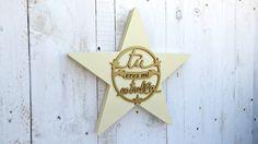 Estrella pintada BEIGE-ORO de SmileAndWood en Etsy