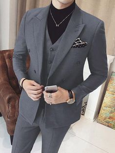 Mens Vested Double Breasted Suits 3 Piece Grey is part of Black men fashion - Mens Dress Outfits, Formal Men Outfit, Stylish Mens Outfits, Men Dress, Casual Outfits, Mens Fashion Blazer, Suit Fashion, Fashion Outfits, Style Fashion