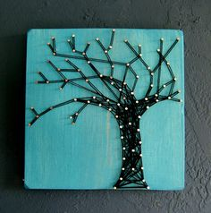 Modern String Art Wooden Tablet  Winter Oak on Cozumel