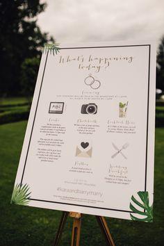 Order of The Day - Samuel Docker Photography | Lemore Manor Wedding with Green Fern & Travel Decor & White Flowers | Pronovias Wedding Dress