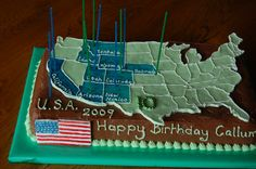 USA cake, the coloured states were the ones we visited on our holiday