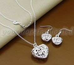 Heart Pendant Necklace Beads Ball Jewelry Set Silver Plated 925 Necklace  (P39) ea27d1ec42c0