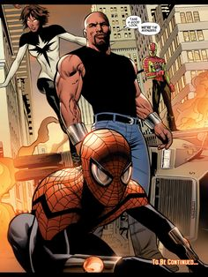 Luke Cage's Mighty Avengers - Spectrum, Superior Spiderman, Ronin (in fake Spidey outfit)