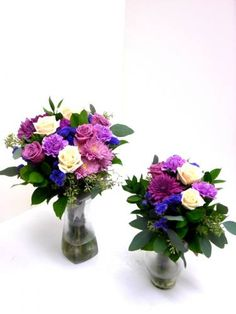 Shades of purple flowers with beautiful greens.