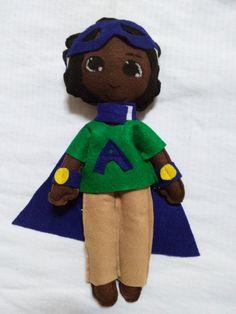 Black doll African American superhero by WiggleGiggleGoodies