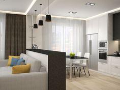 Дизайн интерьера студии Open Kitchen And Living Room, Home Decor Kitchen, Kitchen Interior, Small House Interior Design, Modern Interior, House Design, Modern Master Bedroom, Dream Decor, Home Decor Furniture