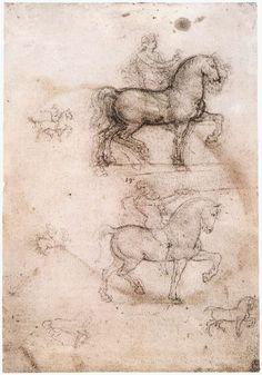 Page: Equestrian monument  Artist: Leonardo da Vinci  Completion Date: c.1517  Place of Creation: Paris, France  Style: High Renaissance  Genre: sketch and study  Technique: chalk  Material: paper  Dimensions: 27.8 x 18.4 cm  Gallery: Royal Collection, Windsor Castle, London, UK