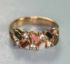 Faux Gemstone Gold Plated Ring Vintage Faux Coral Faux Jade Faux Opal