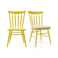 The ever-popular Windsor chair sits up and gets noticed in sunny yellow. Beechwood frame brings the design up to date with slender spindle back, angled legs and subtle saddle seat. Mix with other Willa Chair color options for a fresh take on table seating or pull up a splash of color to the desk or vanity. Beechwood with lacquer finishMortise and tenon joineryFor indoor use only; avoid direct sunlightDust with soft dry clothMade in China.