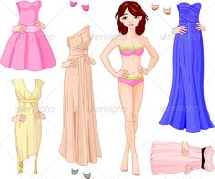 Girl with Evening Dresses  #GraphicRiver         Paper Doll with different evening dresses. EPS 8 (editable), JPG (high resolution)     Created: 12July13 GraphicsFilesIncluded: JPGImage #VectorEPS Layered: No MinimumAdobeCSVersion: CS Tags: beautiful #cartoon #character #clipart #clip-art #cloth #clothes #cocktail #collection #cutout #doll #dress #evening #fashion #female #game #girl #illustration #model #paper #party #play #set #shoe #style #symbol #underwear #vector #woman #young