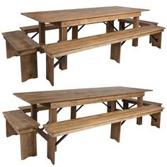 Wide Hercules Antique Rustic Solid Pine Folding Farm Table with 2 Long Benches & 2 Short Benches Set Wooden Benches For Sale, Rustic Wooden Bench, Farm Dining Table, Rustic Farm Table, Wood Table Legs, Pine Table, Iron Bench, Bench Set