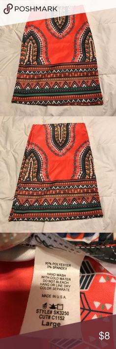 Orange Tribal Print Skirt Brand new. Does have some stretch to it. 25 in long. Bundle for the best deal. Touch Me Skirts Mini