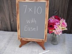 ONE LARGE Rustic Distressed Chalkboard with EASEL for Signs and Table Numbers