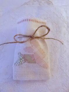 Mini  Patchwork Applique Bunny Burlap Gift by OnceUponARoseGarden, $6.50