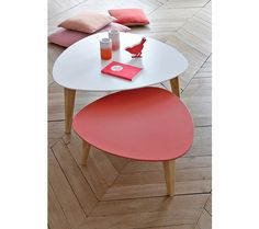 Tables Basses - Set 2 tables gigognes BETTY 404996 Blanc et corail