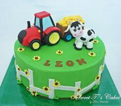Farm Cake - cake by Sweet Tś Cakes by Tina Andorfer Farmer Birthday Cake, Tractor Birthday Cakes, Baby Boy Birthday Cake, Friends Birthday Cake, Animal Birthday Cakes, Farm Animal Birthday, 3rd Birthday Cakes, Baby Boy Cakes, Cow Cupcakes