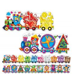 Two colorful cargo train puzzles: one teaching colors and one teaching shapes. Each Giant Puzzle features very bright and colorful illustrations that encourage parent-child discussion about the pictured objects. Each Giant Puzzle has 30 puzzle pieces (60 pieces total) and each puzzle measures 5-foot long (10-feet total)! Ages 3+ years.