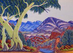 Albert Namatjira | aboriginalart11 | This painting was done by Albert Namatjira's grandchildren