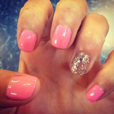 Pink Sparkle Ring Manicure