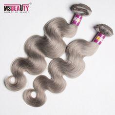 Msbeauty Weave Hair  Brazilian Hair Grade 7AA Brzilian Gray Body wave hair Human Hair Eextensions